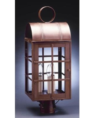 Northeast Lantern Adams 22 Inch Tall 3 Light Outdoor Post Lamp - 6153-AC-LT3-CLR