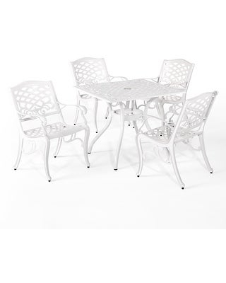Phoenix Traditional Outdoor Aluminum 5 Piece Dining Set by Christopher Knight Home (White - 5-Piece Sets)