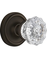 "Nostalgic Warehouse Classic Rosette with Crystal Glass Door Knob, Privacy - 2.75"", Oil-Rubbed Bronze"