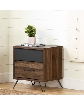Olvyn 2-Drawer Nightstand, Natural Walnut and Charcoal (Natural Walnut and Charcoal)