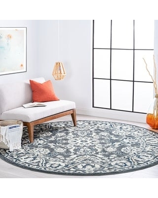 Alise Rugs Carrington Traditional Floral Area Rug (5'3'' Round - Gray)