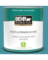 Shop Deals On Behr Premium Plus 1 Gal 530d 6 Teal Bayou Semi Gloss Enamel Low Odor Interior Paint And Primer In One