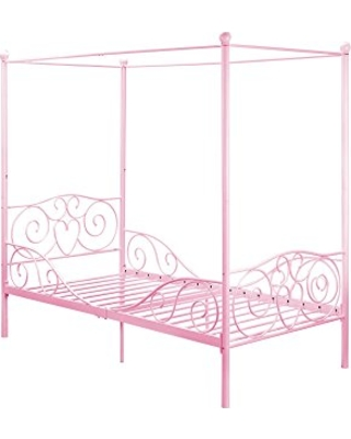 Dhp Canopy Bed With Sy Frame Metal Twin Size Pink