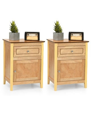 Sandoval 2pcs Nightstand With Drawer Accent Side End Table Storage Cabinet White
