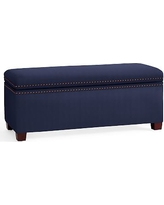 Tamsen Upholstered Storage Bench, Performance Twill Cadet Navy