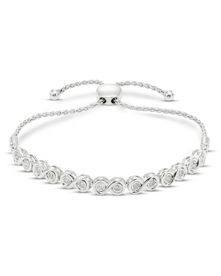 Jared The Galleria Of Jewelry Diamond Bolo Bracelet 1/2 ct tw Round Sterling Silver