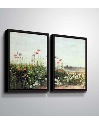 """August Grove 'Bank of Summer Flowers' Acrylic Painting Print Multi-Piece Image on Canvas BI187943 Format: Floater Frame Size: 32"""" H x 48"""" W x 2"""" D"""