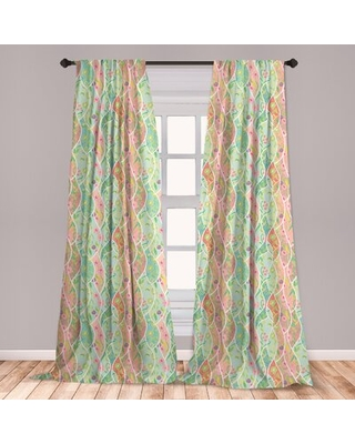 Ambesonne Colorful 2 Panel Curtain Set, Colorful Floral Composition With Fresh Foliage Leaves And Doodle Style Petals, Lightweight Window Treatment Li