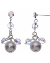 Crystal Avenue Silver-Plated Crystal and Simulated Pearl Drop Earrings - Made with Swarovski Crystals, Women's