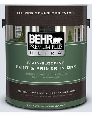 BEHR Premium Plus Ultra 1 gal. #ppl-70 Eastern Breeze Semi-Gloss Enamel Exterior Paint and Primer in One