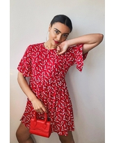 Womens Ditsy Floral Smock Dress - Red - 10