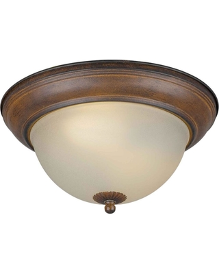 Talista 2-Light Rustic Sienna Flush Mount with Shaded Umber Glass