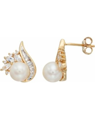 14k Gold Over Silver Freshwater Cultured Pearl & Lab-Created White Sapphire Swirl Drop Earrings, Women's