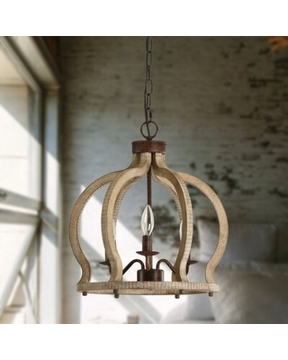 Fennell 3 - Light Candle Style Chandelier with Wood Accents