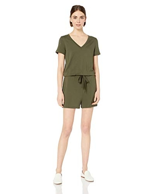 Amazon Brand - Daily Ritual Women's Supersoft Terry Short-Sleeve V-Neck Romper, Olive, Small