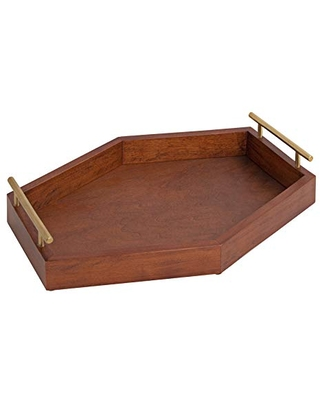 """Kate and Laurel Lipton Hexagon Wood Decorative Tray, 16.5"""" x 12"""", Walnut Brown and Gold, Chic Accent Tray for Ottoman or Console"""