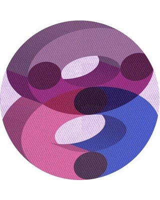 East Urban Home Abstract Wool Purple Area Rug X113646650 Rug Size: Round 4'