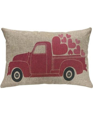 August Grove® Finkel Valentines Day Truck Linen Throw Pillow CJ129195