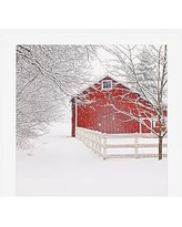 """Red Barn in the Snow by Cindy Taylor, 25 x 25"""", Wood Gallery, White, Mat"""