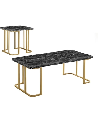 Furniture of America Pasadina 47.25 in. Gold Coating and Black Rectangle Faux Marble Top 2-Piece Coffee Table Set