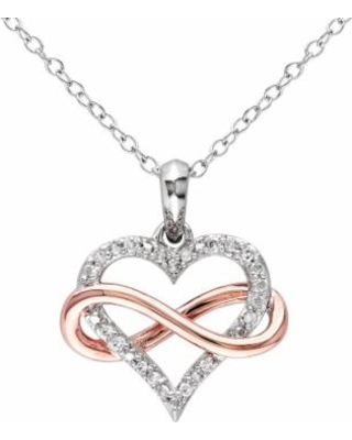 """""""Stella Grace Two Tone Sterling Silver Diamond Accent Infinity Heart Pendant Necklace, Women's, Size: 18"""", White"""""""
