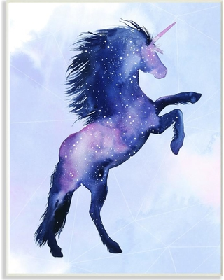 """Stupell Industries 12.5 in. x 18.5 in. """"Unicorn Universe Stars and Space Silhouette"""" by Artist Grace Popp Wood Wall Art, Multi-Colored"""