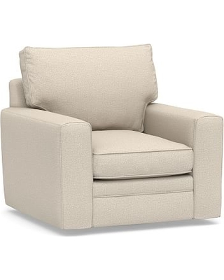 Pearce Square Arm Upholstered Swivel Armchair, Down Blend Wrapped Cushions, Performance Chateau Basketweave Oatmeal
