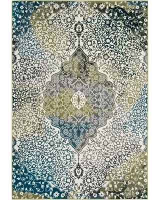 Safavieh Watercolor Ivory/Peacock Blue 7 ft. x 9 ft. Area Rug