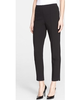 St. John Collection Ponte Knit Ankle Pants, Size 14 in Caviar at Nordstrom