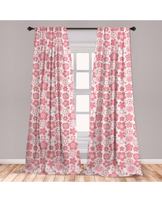 Ambesonne Cherry Blossom Curtains, Spring Nature Inspired Doodle Style Gardening Plants Far, Window Treatments 2 Panel Set For Living Room Bedroom Dec