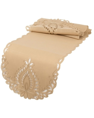 Wilshire Embroidered Cutwork Table Runner, 16 by 36-Inch, Beige