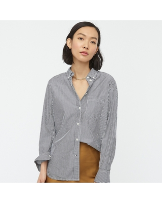 Classic-fit washed cotton poplin shirt in stripe