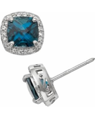 Sterling Silver London Blue Topaz and Lab-Created White Sapphire Halo Stud Earrings, Women's