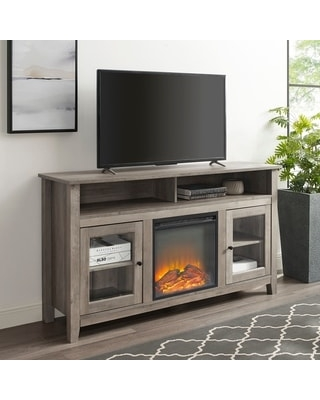 58-inch Highboy 2-Door Fireplace TV Stand Console (Grey Wash)