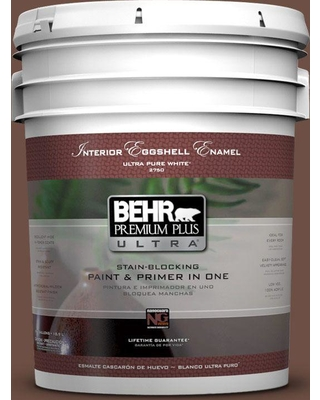 BEHR Premium Plus Ultra 5 gal. #pmd-108 Double Chocolate Eggshell Enamel Interior Paint and Primer in One