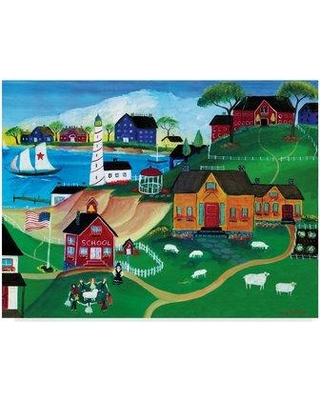 "Winston Porter 'Sheep At Seaside School' Acrylic Painting Print on Wrapped Canvas WNPO2744 Size: 35"" H x 47"" W x 2"" D"