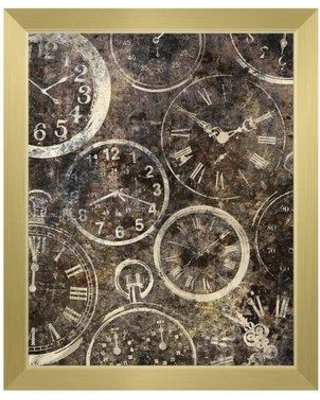 """Click Wall Art 'Many Hands of Time' Framed Graphic Art IND0000611FR Size: 11"""" H x 14"""" W Format: Gold Framed"""