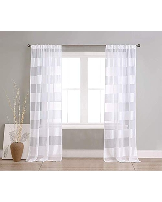 """Home Maison Capricia Pole Top Horizantal Striped Linen Textured Window Curtain Pair Drape for Living Room & Bedroom-Set of 2 Panels, 37""""W x 84""""L, White"""
