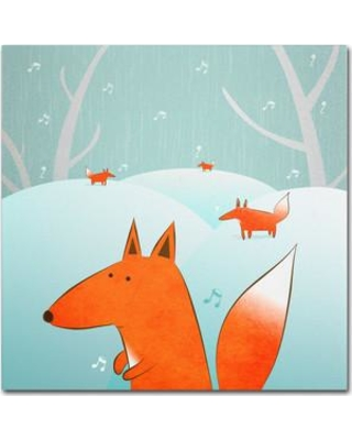 "Trademark Art ""Winter Foxes"" by Carla Martell Painting Print on Wrapped Canvas ALI0545-C Size: 35"" H x 35"" W x 2"" D"
