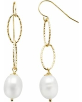 PearLustre by Imperial 14k Gold Over Silver Freshwater Cultured Pearl Drop Earrings, Women's, White