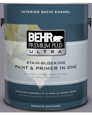 BEHR ULTRA 1 gal. #PPU16-15 Gray Heather Satin Enamel Interior Paint and Primer in One