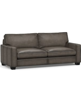 """PB Comfort Square Arm Leather Grand Sofa 88"""", Polyester Wrapped Cushions, Burnished Wolf Gray"""