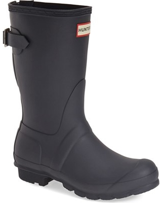 Women's Hunter Original Short Back Adjustable Rain Boot, Size 6 M - Blue