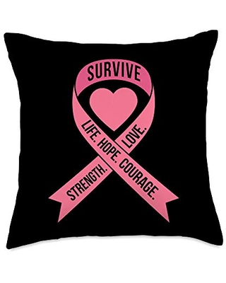 VepaDesigns Breast Cancer Awareness Women Gift Pink Ribbon Heart Words Cool Breast Cancer Awareness Gift Throw Pillow, 18x18, Multicolor