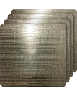 Dainty Home Emery Coffee Metallic Reversible Square Placemats (Set of 4), Brown