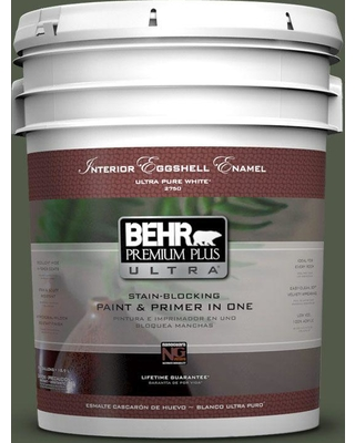 BEHR Premium Plus Ultra 5 gal. #430F-7 Windsor Moss Eggshell Enamel Interior Paint and Primer in One
