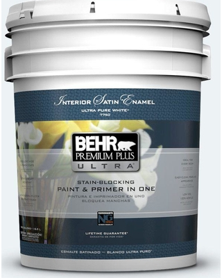 BEHR ULTRA 5 gal. #BL-W10 Maui Mist Satin Enamel Interior Paint and Primer in One