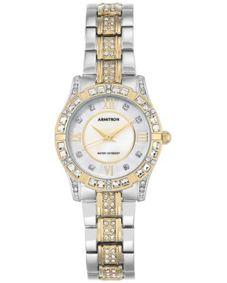 Armitron Women's Mother of Pearl and Two-Tone Swarovski Crystal Dress Watch