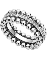 LAGOS Caviar Spark Diamond Band Ring, Size 7 in Silver/Diamond at Nordstrom
