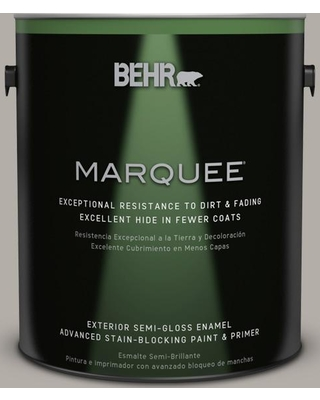 BEHR MARQUEE 1 gal. #T17-09 Laid Back Gray Semi-Gloss Enamel Exterior Paint and Primer in One